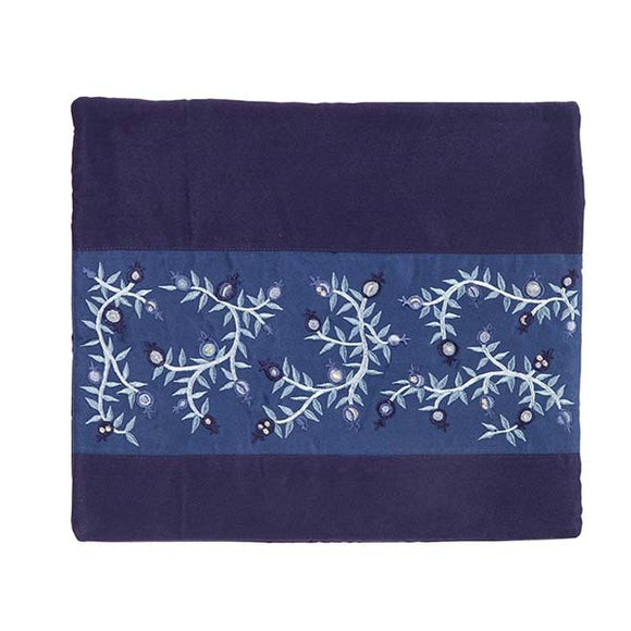 Tallit Bag - Embroidery - Pomegranates - Blue Stripe