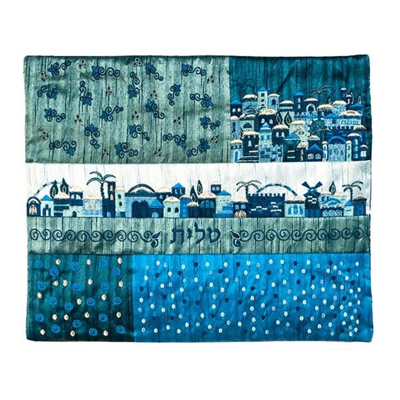Tallit Bag - Patches & Embroidery - Jerusalem Blue
