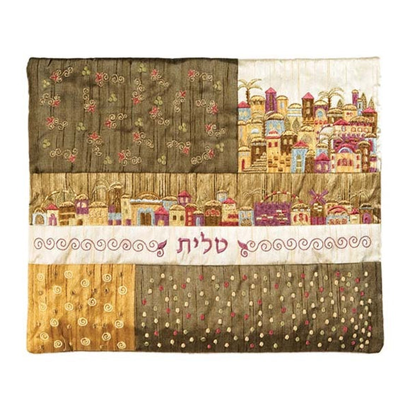 Tallit Bag - Patches & Embroidery - Jerusalem Brown