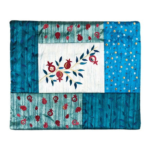 Tallit Bag - Patches & Embroidery - Pomegranate Blue
