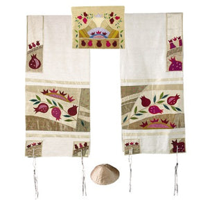 Raw Silk Appliqued Tallit - Pomegranate - Gold