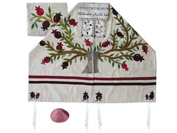 Raw Silk Appliqued Tallit - 95 cm