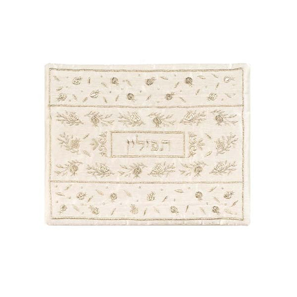 Tefillin Bag - Machine Embroidery - Pomegranates - Gold