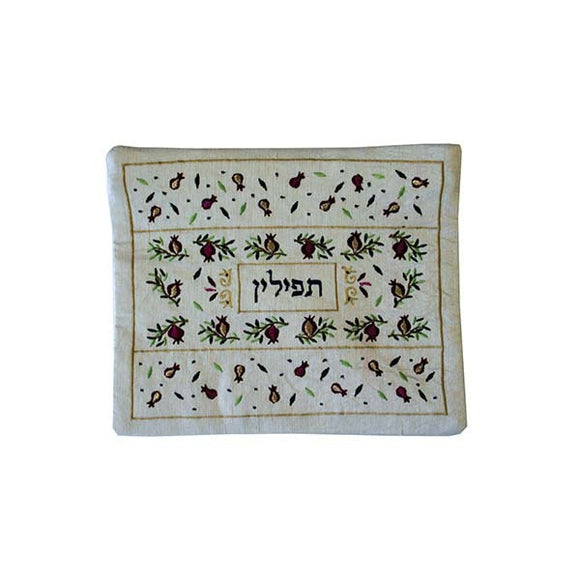 Tefillin Bag - Machine Embroidery - Pomegranates - White II