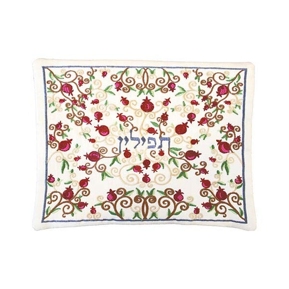 Tefillin Bag - Machine Embroidery - Full Pomegranates - White
