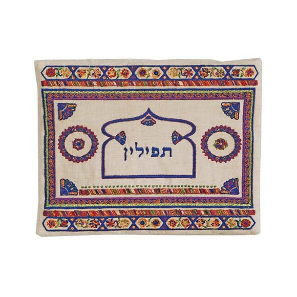 Tefillin Bag - Embroidery - Linen - Dark