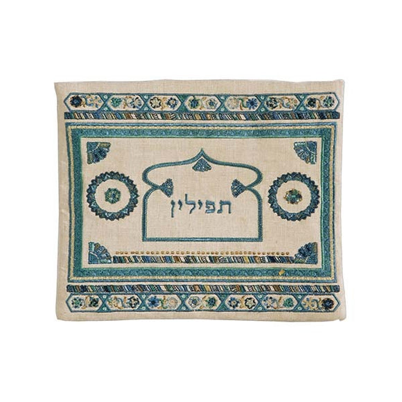 Tefillin Bag - Embroidery - Linen - Blue