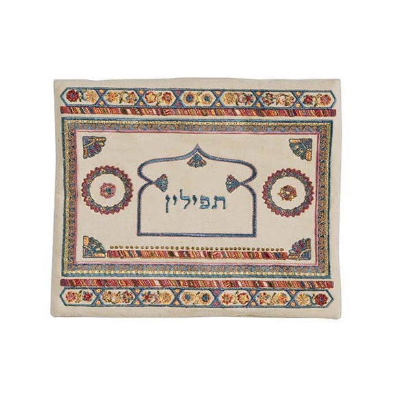 Tefillin Bag - Embroidery - Linen - Light