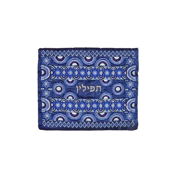 Tefillin Bag - Full Embroidery - Blue II