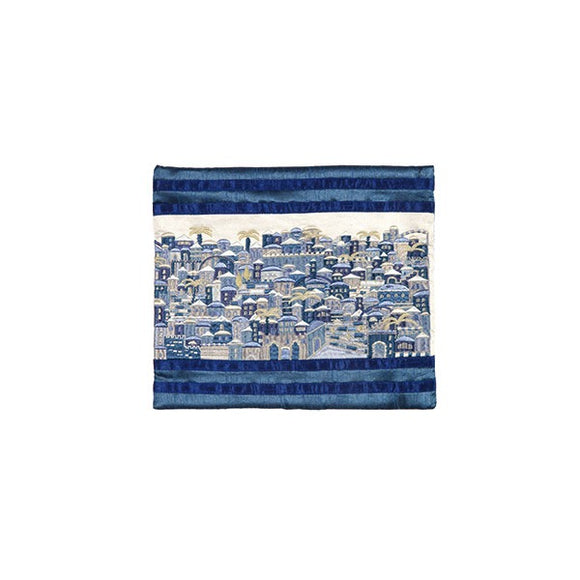 Tefillin Bag - Full Embroidery - Jerusalem Blue