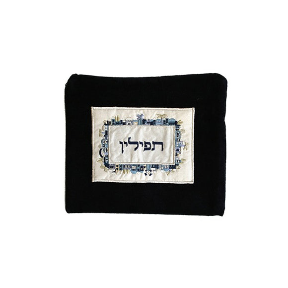 Tefillin Bag - Velvet & Embroidered Applique - Jerusalem Blue