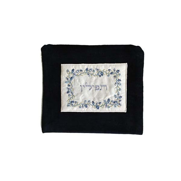 Tefillin Bag - Velvet & Embroiderey - Pomegranate - Blue