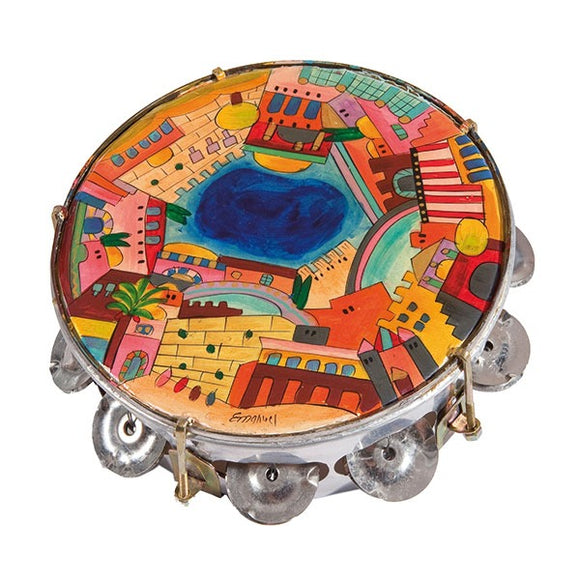 Tambourine - Hand Painted On Genuine Leather - Jerusalem