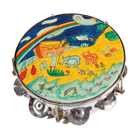 Tambourine - Hand Painted On Genuine Leather - Noah's Ark