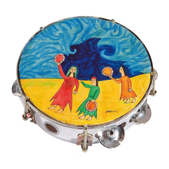 Tambourine - Hand Painted On Genuine Leather - Miriam