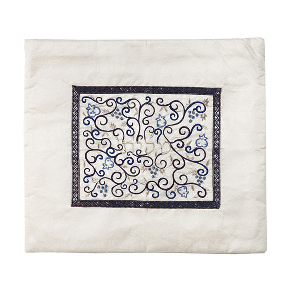 Tallit Bag - Middle Embroidery - White & Blue