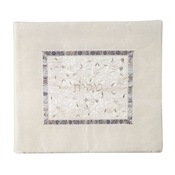 Tallit Bag - Middle Embroidery - White & Silver