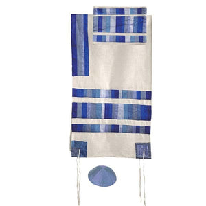 "Appliqued Tallit & Stripes - 20"" - Blue"
