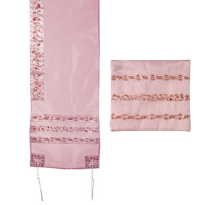 Tallit Organza Embroidered Stripes - Pink