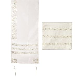 Tallit Organza Embroidered Stripes - White