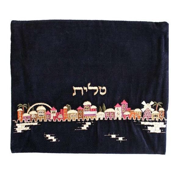 Tallit Bag - Velvet Embroidered - Jerusalem Multicolored