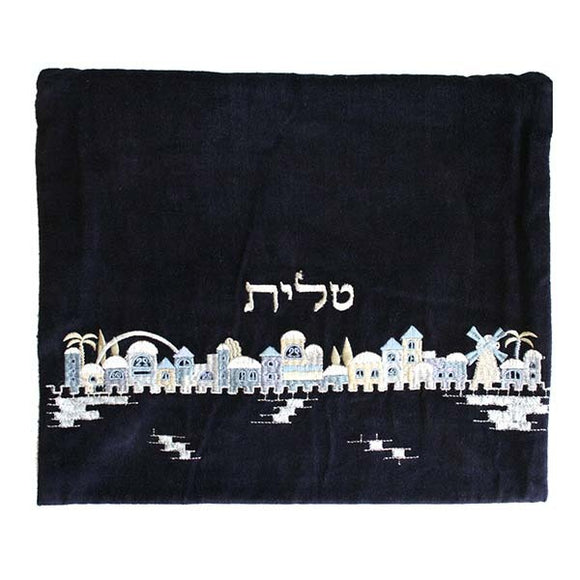 Tallit Bag - Velvet Embroidered - Jerusalem Blue