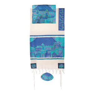 "Woven Cotton & Silk Tallit 21"" x 77"" - Blue Gate"