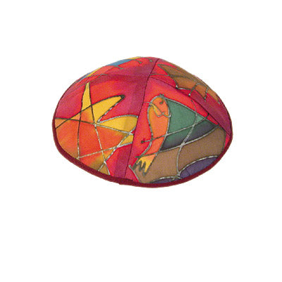 Kippah - Hand Painted Silk - 12 Tribes - Maroon