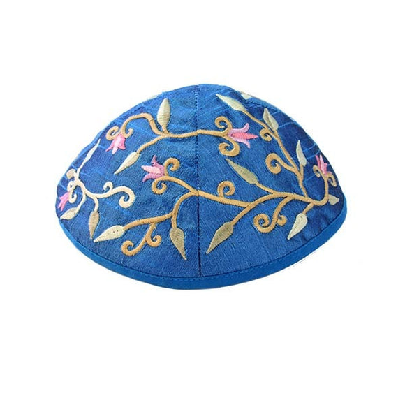 Kippah - Embroidered - Flowers - Blue
