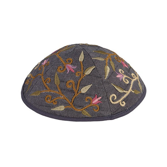 Kippah - Embroidered - Flowers - Gray