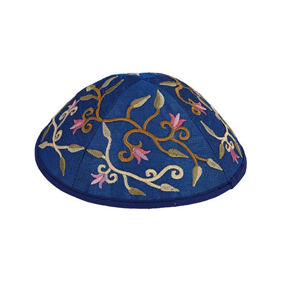 Kippah - Embroidered - Flowers - Light Blue