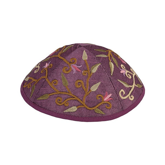 Kippah - Embroidered - Flowers - Purple