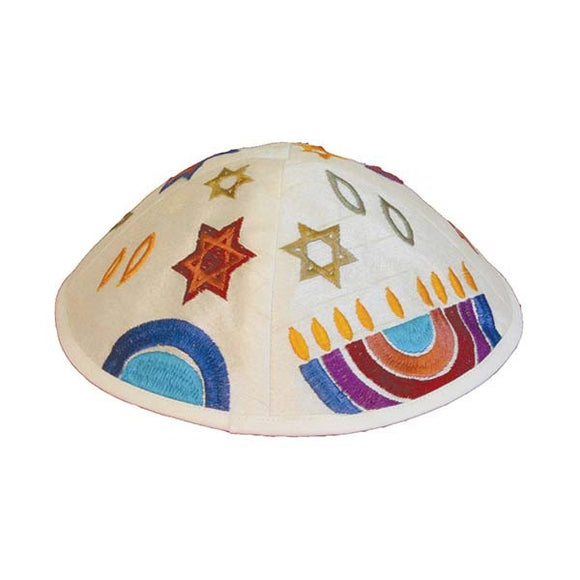 Kippah - Embroidered - Menorah - Multicolored