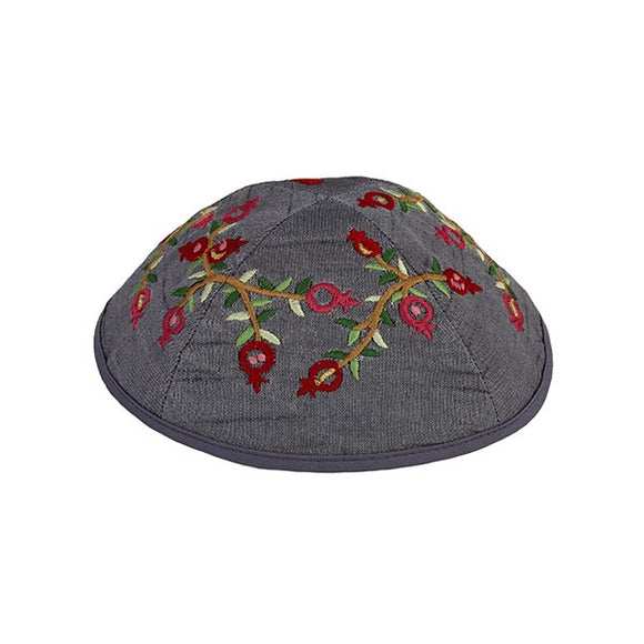 Kippah - Embroidered - Pomegranates - Gray