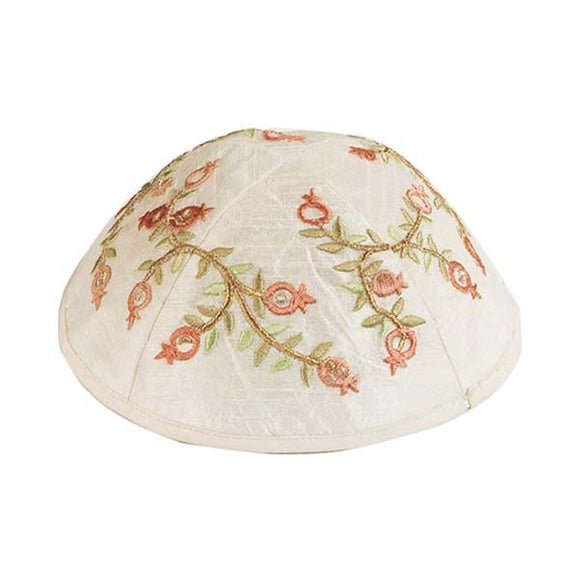 Kippah - Embroidered - Pomegranates - Light