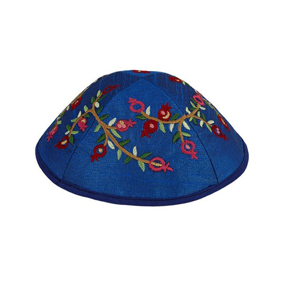 Kippah - Embroidered - Pomegranates - Light Blue