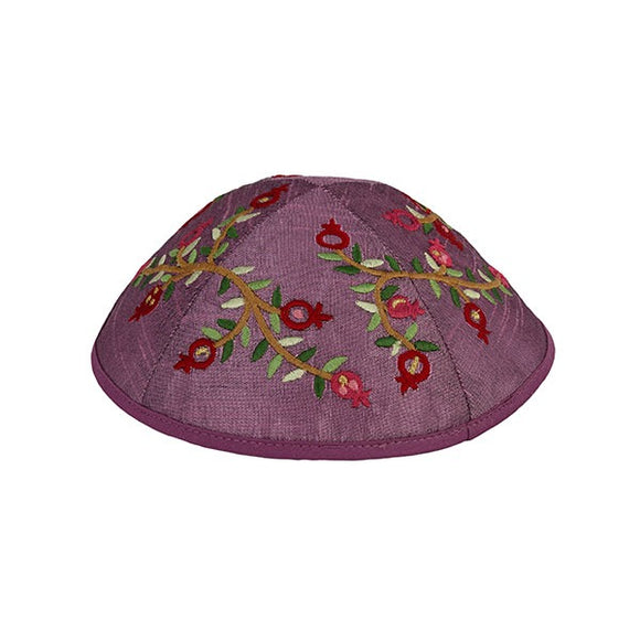Kippah - Embroidered - Pomegranates - Purple