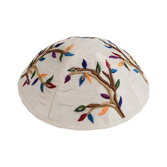 Kippah - Embroidered - Tree Of Life - Multicolored