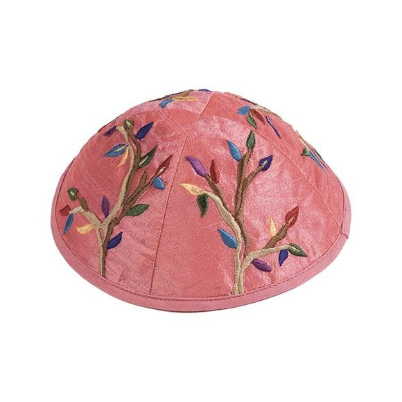 Kippah - Embroidered - Tree Of Life - Pink