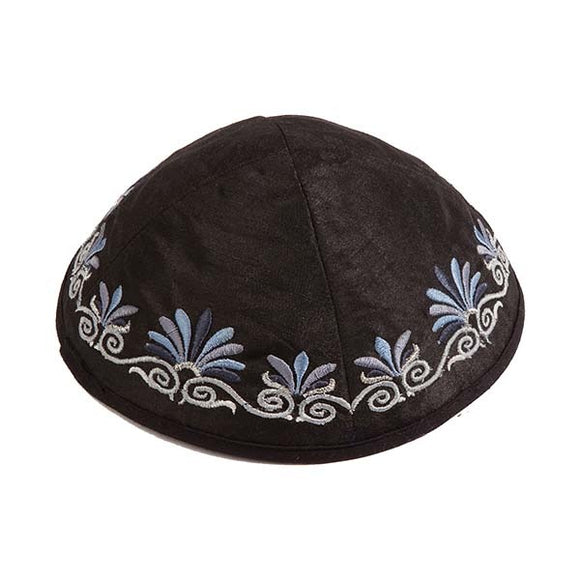 Kippah - Embroidered - Wave - Black