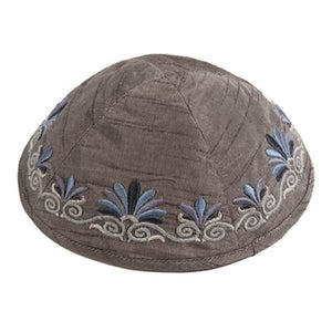 Kippah - Embroidered - Wave - Gray