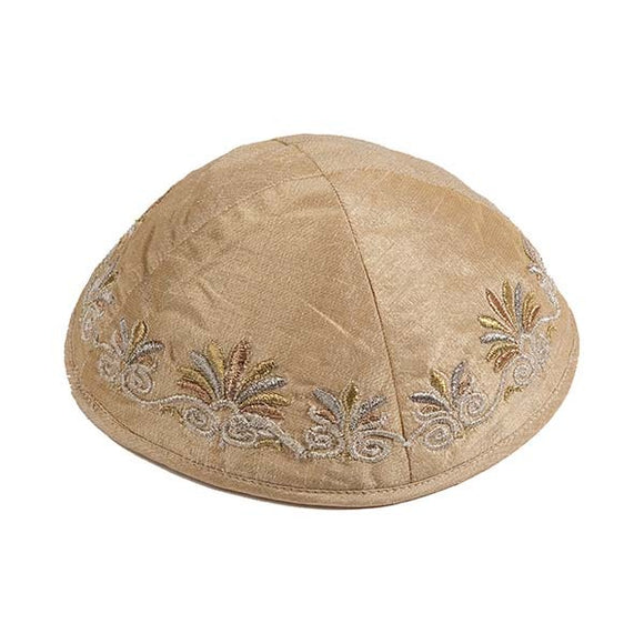 Kippah - Embroidered - Wave - Brown