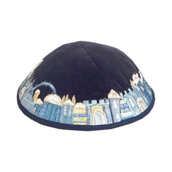 Kippah - Velvet & Embroidered - Blue