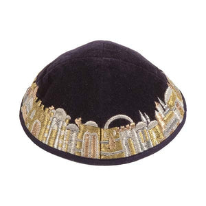 Kippah - Velvet & Embroidered - Gold