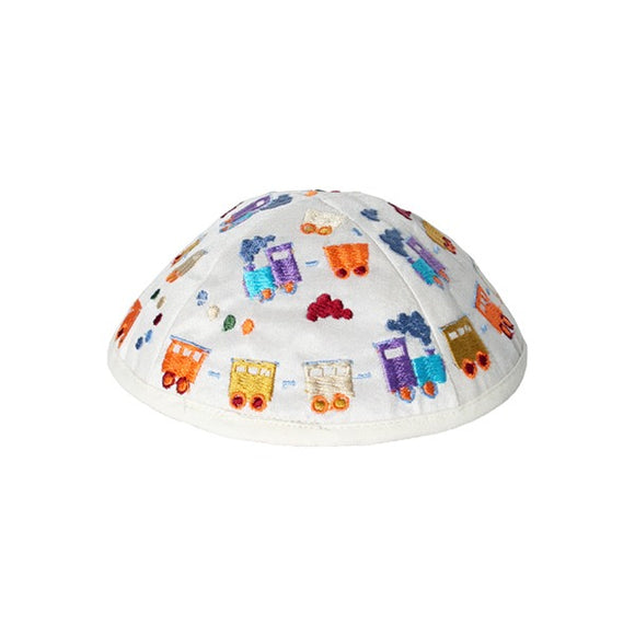 Kippah - Embroidered - Children - Trains White