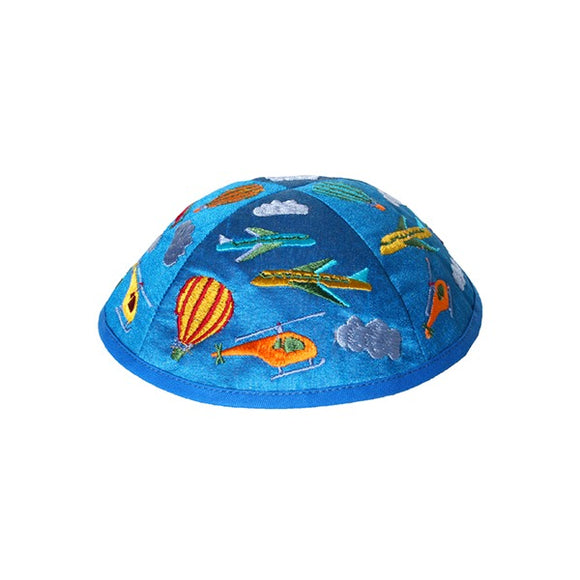 Kippah - Embroidered - Children - Airplanes Blue