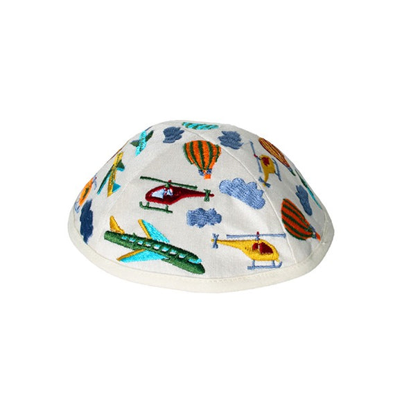 Kippah - Embroidered - Children - Airplanes White