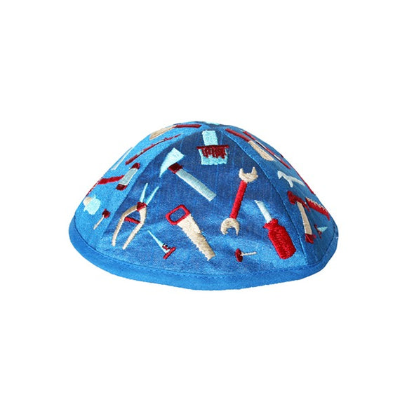Kippah - Embroidered - Children - Tools Blue