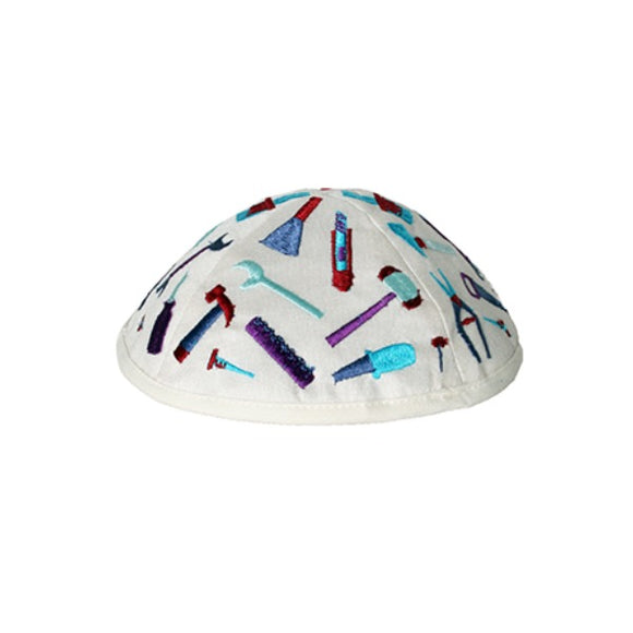 Kippah - Embroidered - Children - Tools White