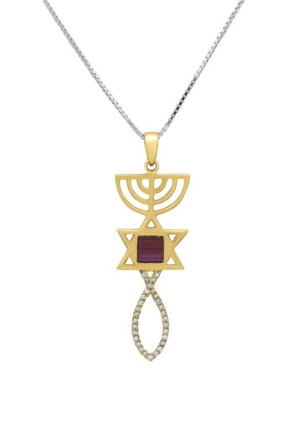 Nano Sim OB + NT 14K Gold Pendant Studded with 30 Diamonds in Messianic Symbol Design - The Peace Of God